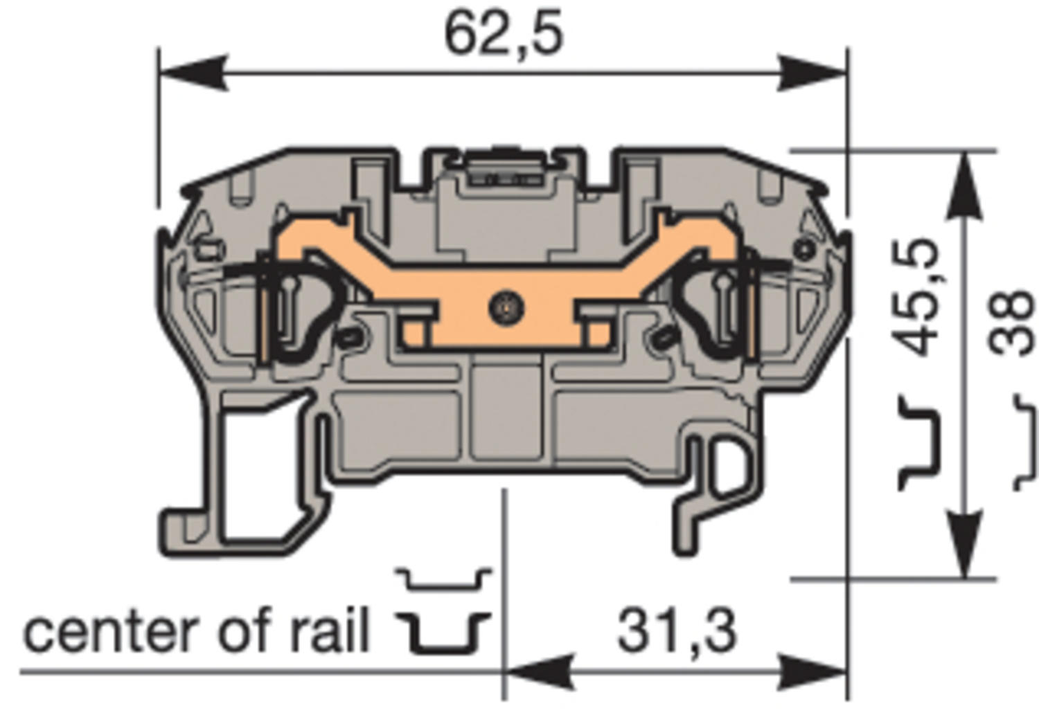 Illustration on terminal block spring clip for TS35-rail, 2 connections