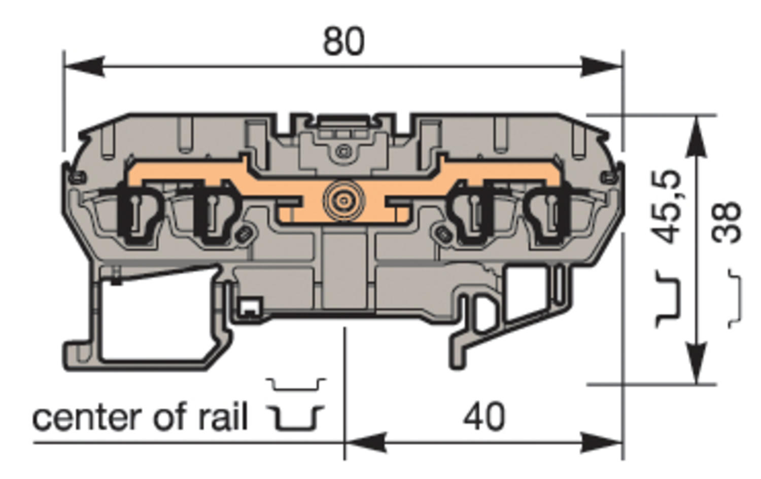 Illustration on terminal block spring clip for TS35-rail, 4 connections